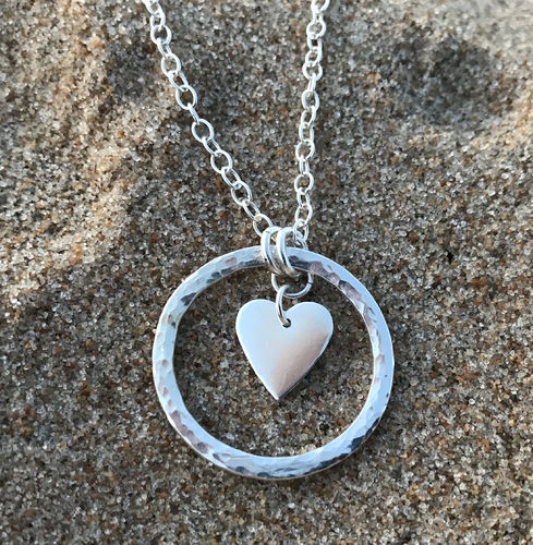 Heart flower necklace - Swedish sterling silver, handmade in Sweden